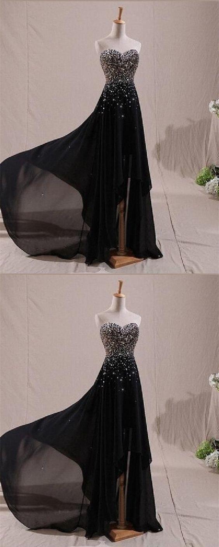 Schicke Perlen Schatz Chiffon Abendkleider, schwarze lange Strass Prom Abendkleider   – Prom