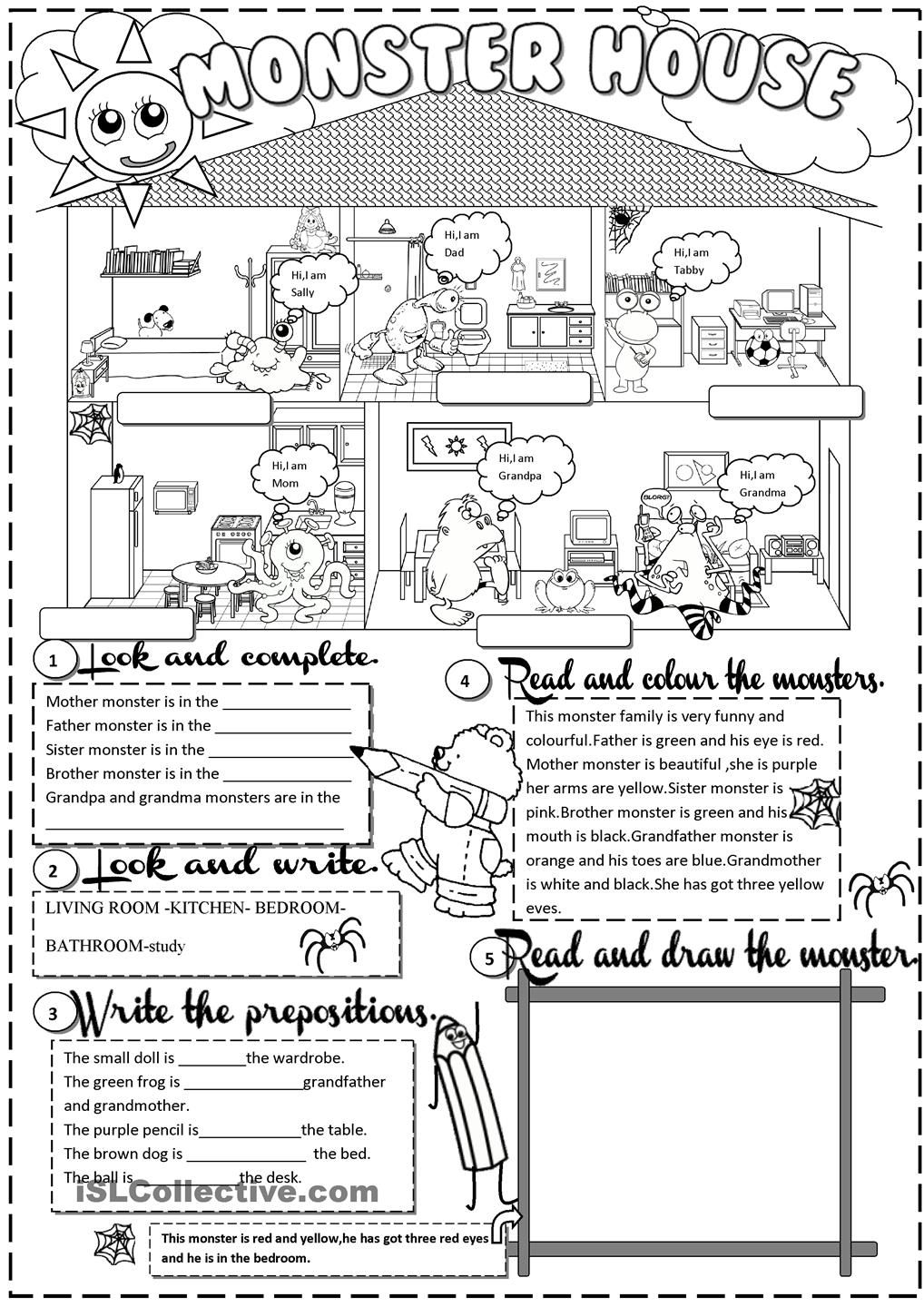 Worksheets Monster High Worksheets monster house esltesol pinterest monsters and 13 best images of esl worksheets printable family worksheet high free p