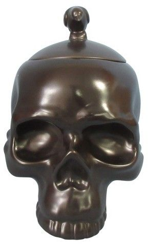 Hyde and Eek! Boutique Halloween Skull Candy Jar with Raven Handle - skull halloween decorations