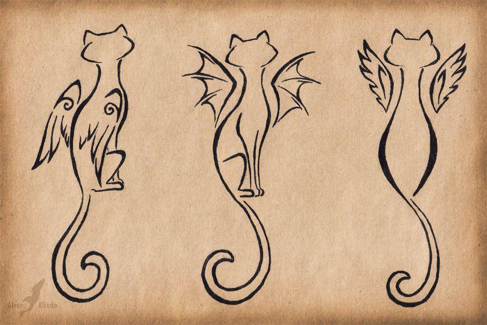 winged cats trio - tattoo designalviaalcedo.deviantart on