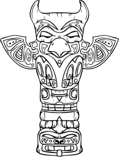Printable Totem Pole Coloring | Totem, Schizzi, Grafici