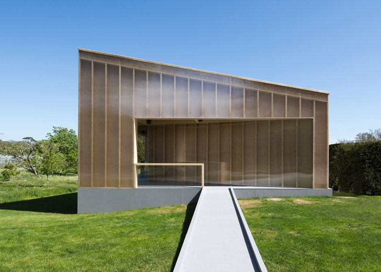 Carmody Groarke's new White Cube gallery is an angular timber and plastic pavilion.