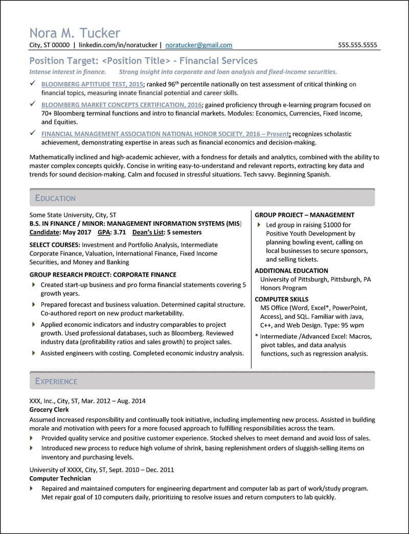 Resume Examples by Industry and Job Title Student resume