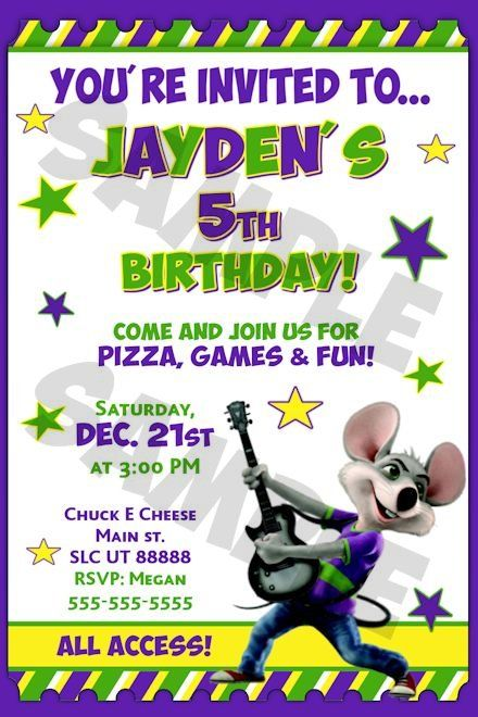 chuck e cheese birthday invitations party ideas pinterest