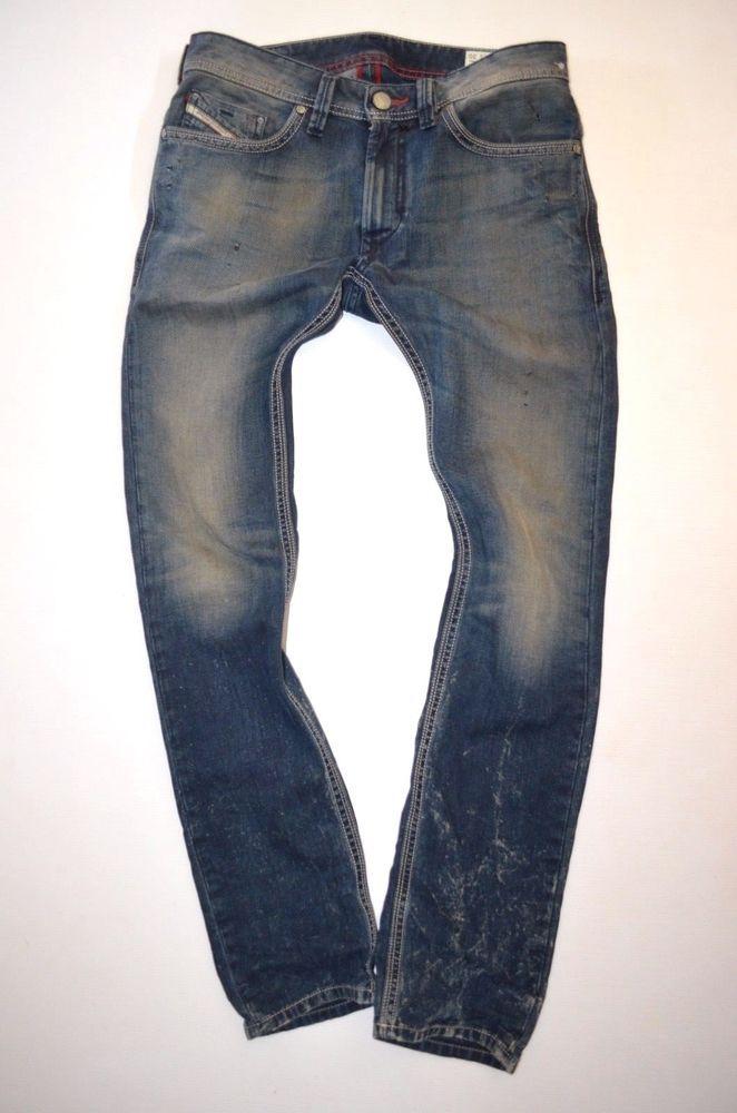 b9f9476e mens DIESEL THANAZ 0660Q urban 3D crease Low waist Slim Skinny JEAN size  W28 L30
