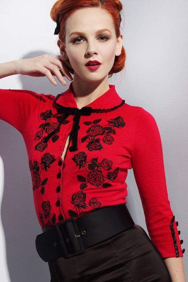 7bbca3514f7 RARE Wheels and Dollbaby Dita Von Teese Cardigan Red w Black Embroidery  AUS8 US4