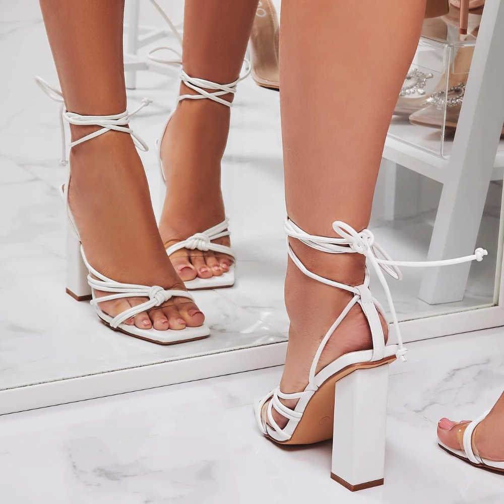 Neima Lace Up Square Toe Clear Perspex Block Heel In White
