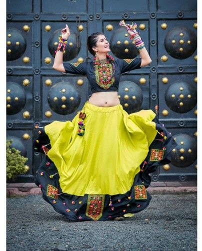 Yellow and Black Embroidered Garba Lehenga Choli #chaniyacholi