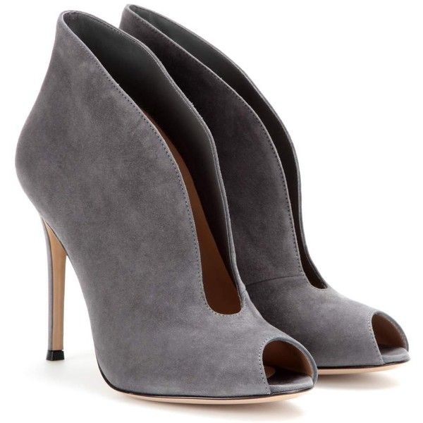 06f851c20bbf Gianvito Rossi Vamp Suede Peep-Toe Ankle Boots (21 980 UAH) ❤ liked on Polyvore  featuring shoes