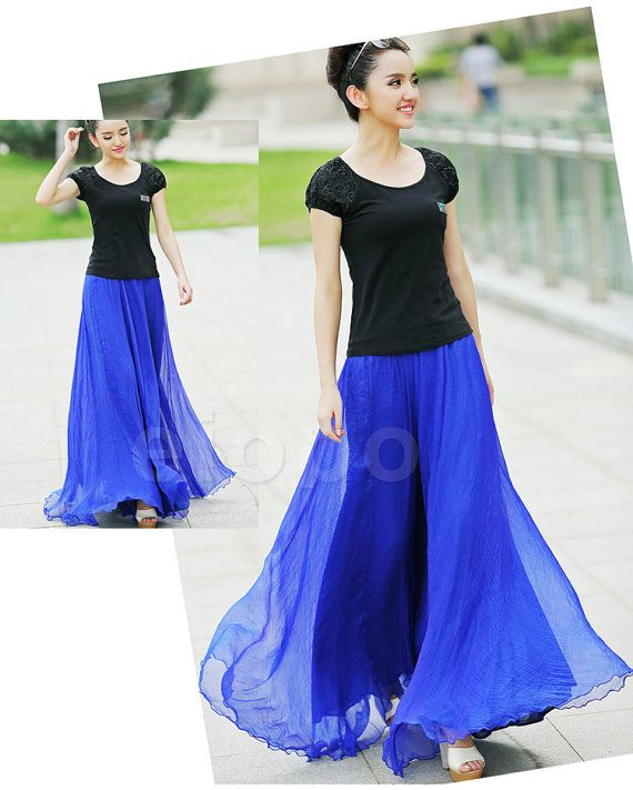 Royal Blue Long Chiffon skirt Maxi Skirt Ladies Silk by LYDRESS ...