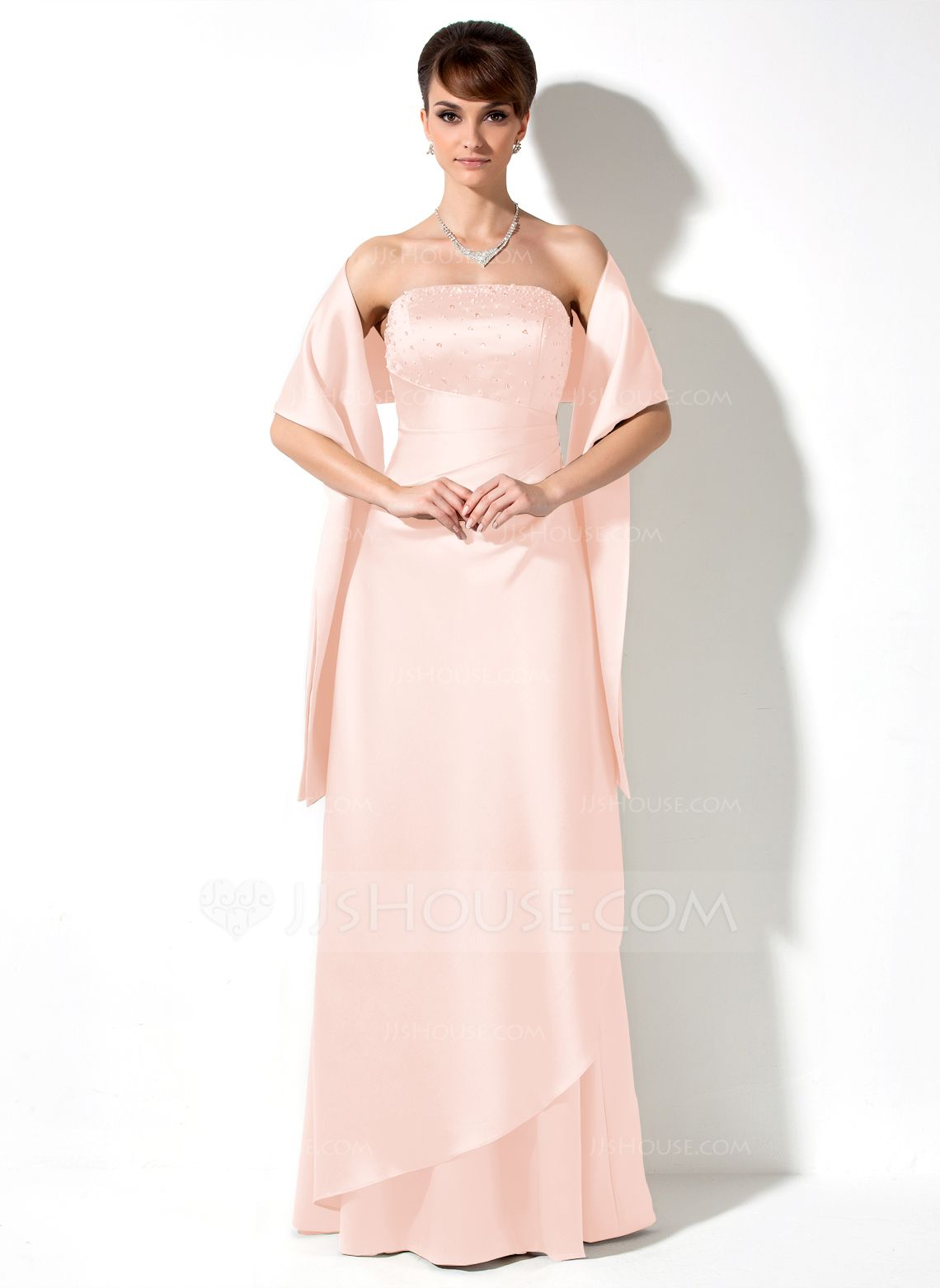 Alineprincess strapless floorlength satin bridesmaid dress with