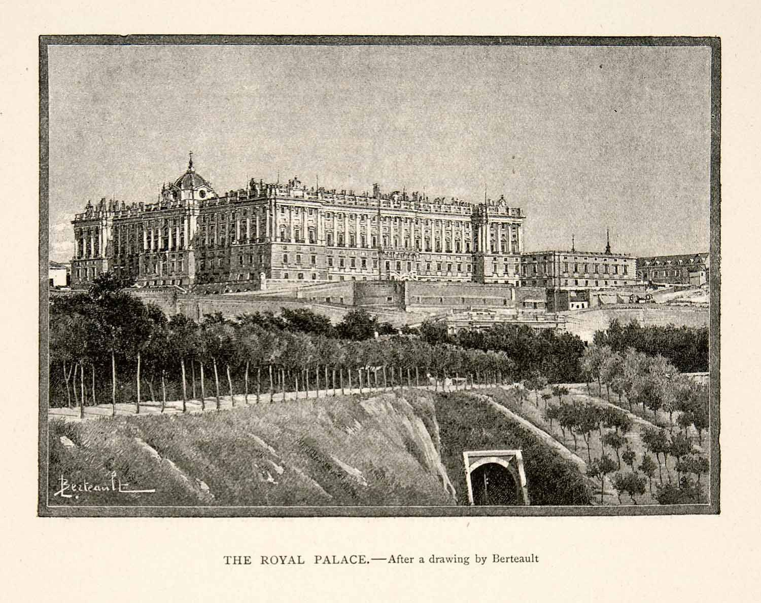 1894 Print Palacio Real De Madrid Spain Royal Palace Sabatini Gardens XGGC5