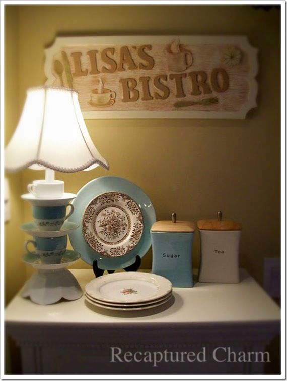 Charming lamp!  Teacup lamp bistro sign