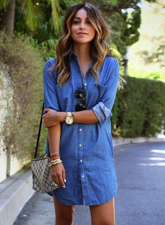 e04f42e3522 Women s Long Sleeve Button down Mini Denim Shirt Dress - Same As Vogue  Sport 2821 Sewing Pattern c. 1992