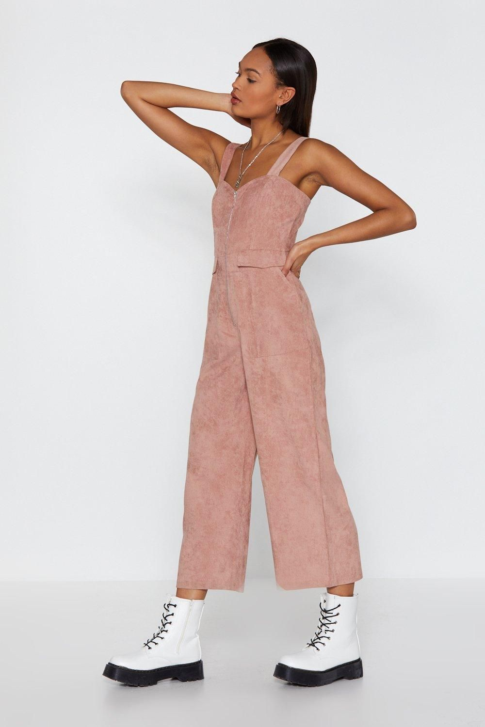 f3a22c778b6d0 Who do you pink you are? This jumpsuit comes in corduroy and features a  sweetheart neckline, cropped, wide-leg silhouette, pockets at sides, and zip  closure ...