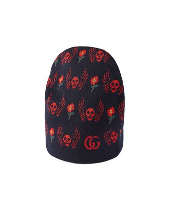 686cb960c63 Roses+ +Skulls+Knit+Beanie+Hat+by+Gucci+at+Neiman+Marcus.