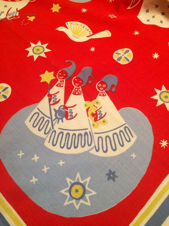60s vintage swedish retro christmas table cloth with a by Inspiria