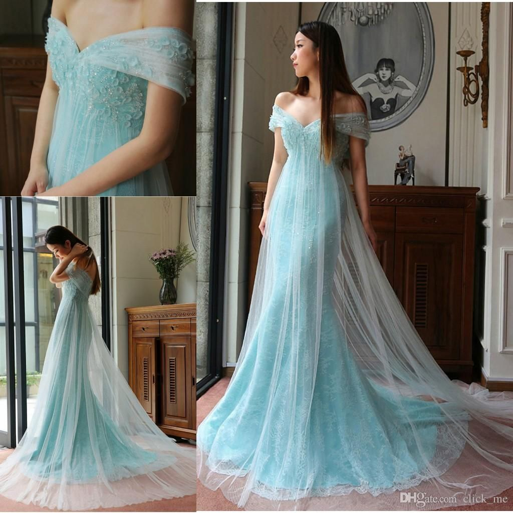 2017 Blue Sexy Prom Dress Off The Shoulder Beading Srquins Appliques ...