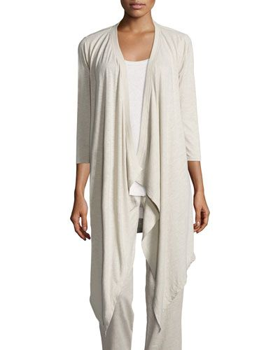TD0ZY Grey State Cascade Open-Front Cardigan, Pebble
