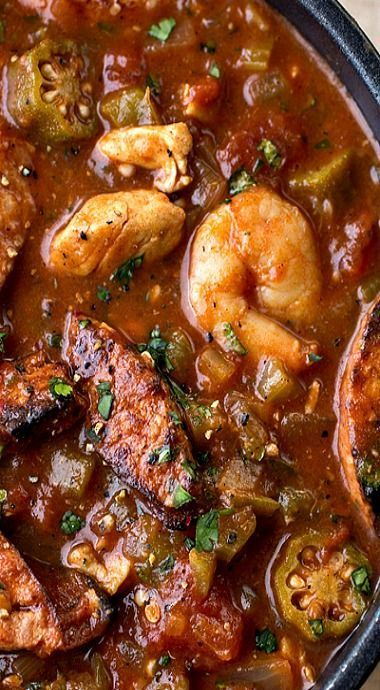 Gumbo Laya Stew With Spicy Sausage Chicken Shrimp And Okra Over
