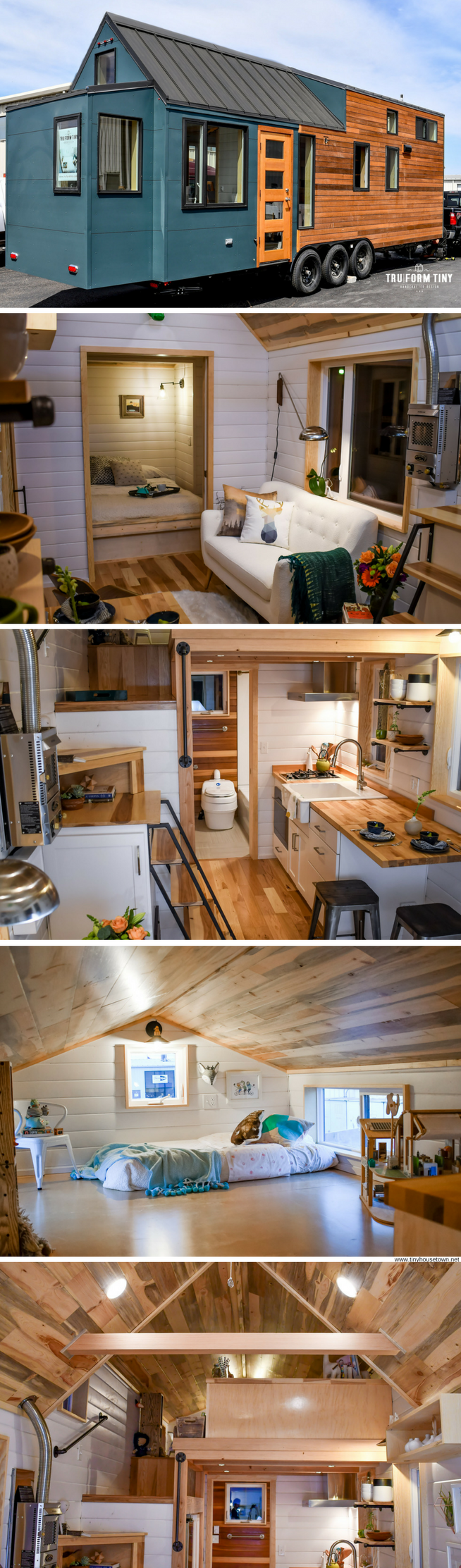 The payette  modern two bedroom tiny home with stylish kitchen and wood burning stove designed built by truform homes also an upstairs desk rh pinterest