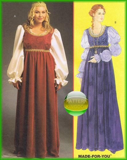 McCalls 5647 Medieval Princess EVER AFTER Dress/Gown Patterns | Nail ...