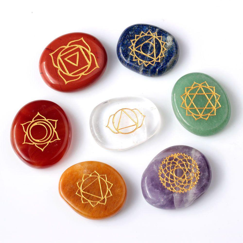 7 piece engraved chakra palm crystal reiki healing stone