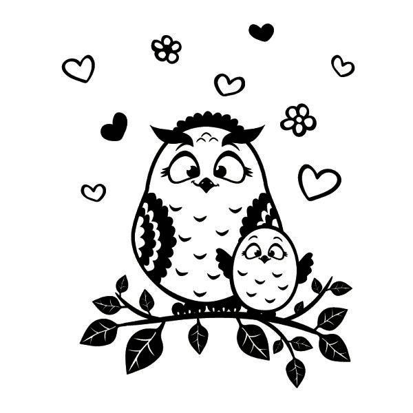 mother owl with baby owl silhouette #digistamp