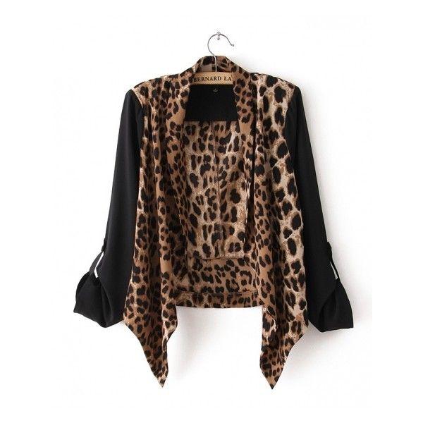 Seamed Leopard-print Chiffon Cardigan (48 AUD) ❤ liked on ...