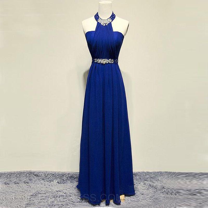 Blue Prom Dresses 2015 Long Halter Chiffon Evening