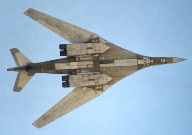 The Tupolev Tu-160 is a supersonic, variable-sweep wing