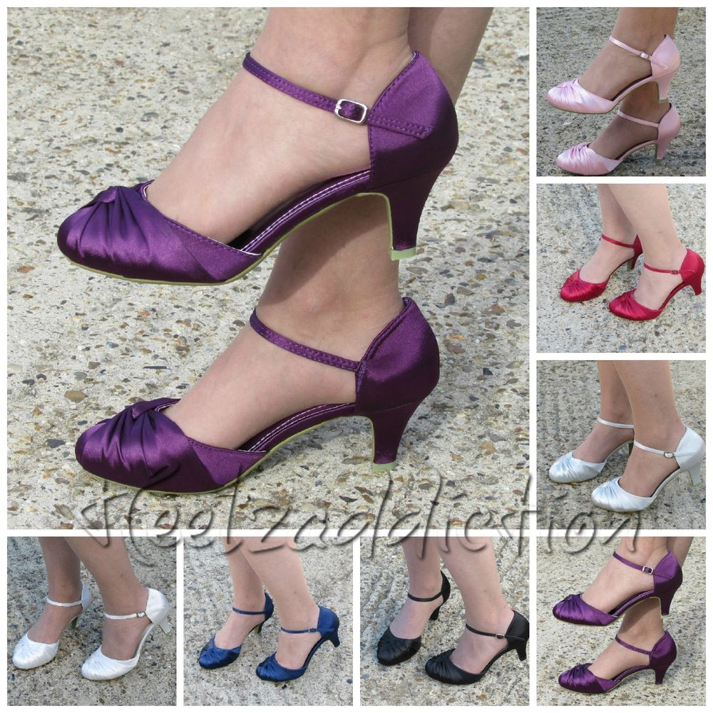 Details About New Womens Mid Low Heel Bridal Bridesmaid Wedding