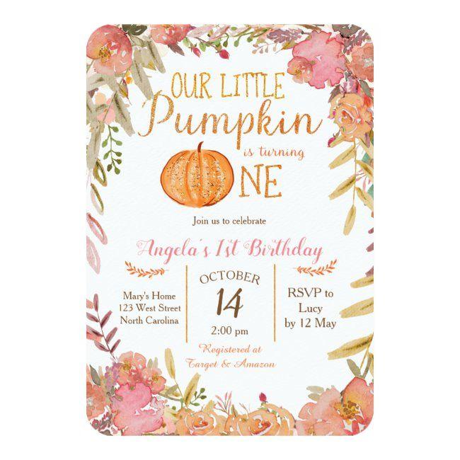 Rustic Pink Pumpkin First Birthday Invitation | Zazzle.com