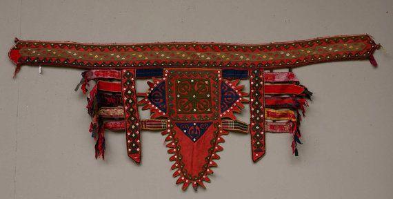 27 x 68 Vintage Handmade Turkoman Trapping Tekke Camel by CICEM