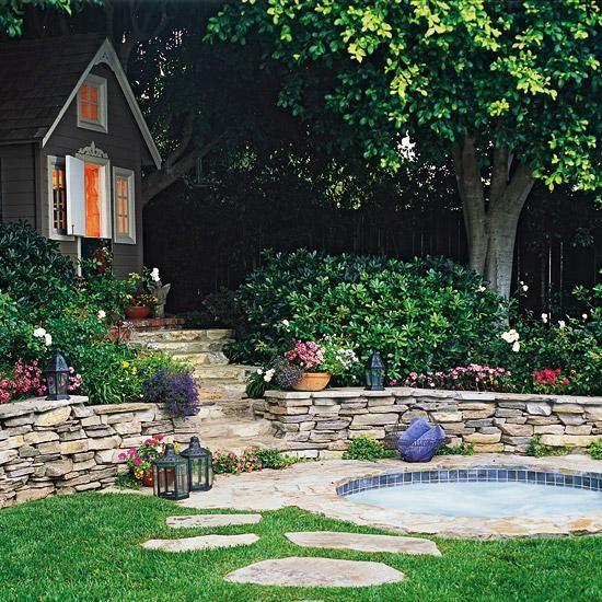 Garten Hang Anlegen Natursteine Treppen Ideen