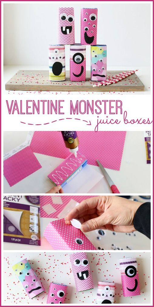 how to make Valentine Monster Juice Boxes, great for class parties! - Sugar Bee Crafts - -  #valentinesday #valentinesdaycrafts #juicebox