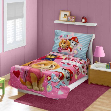 BabyBoom Nick Jr PAW Patrol Skye Best Pups Ever 4 Piece Toddler Bedding Set Pink Multicolor