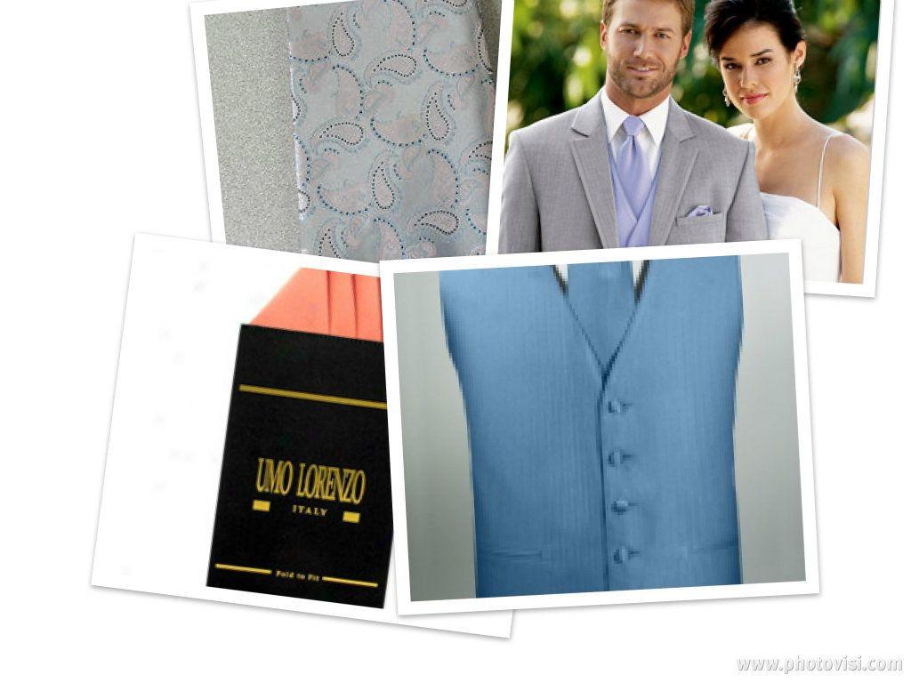 Grey tux, blue vest, paisley tie, peach hankie...I did pretty well ...
