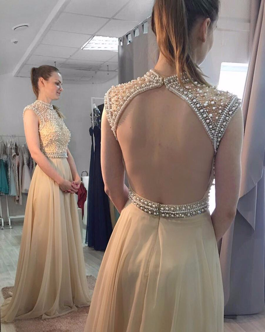 Custom Made Prom Gowns, A Line High Neck | backless dress ...