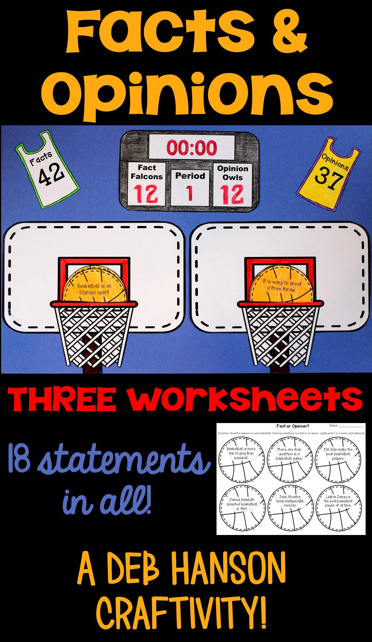 Fact And Opinion Craftivity Basketball