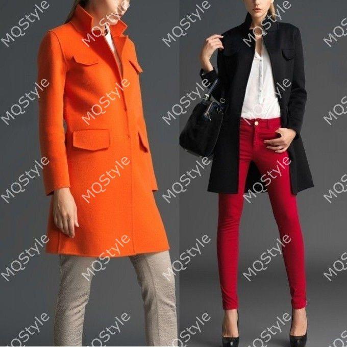 Womens European Fashion Standup Collar Pocket Warm Trench Coat Jacket