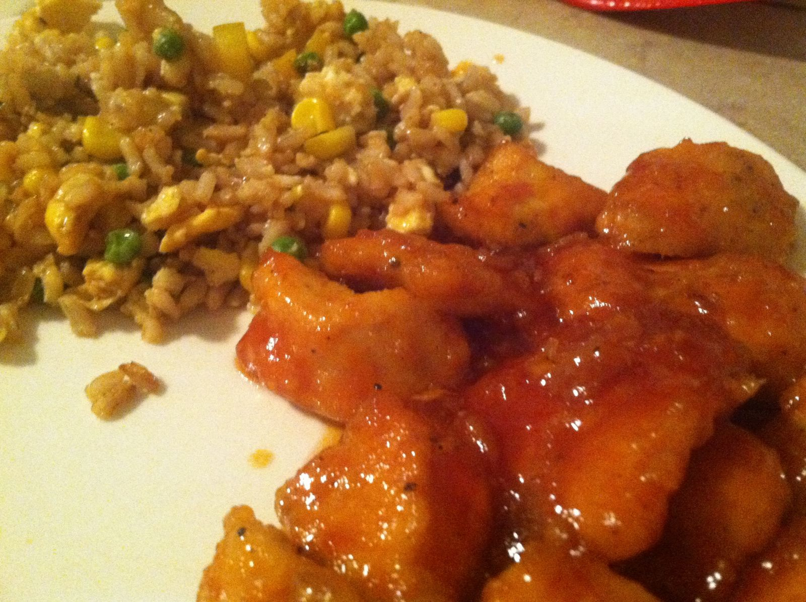 veggie fried rice and sweet and sour chicken