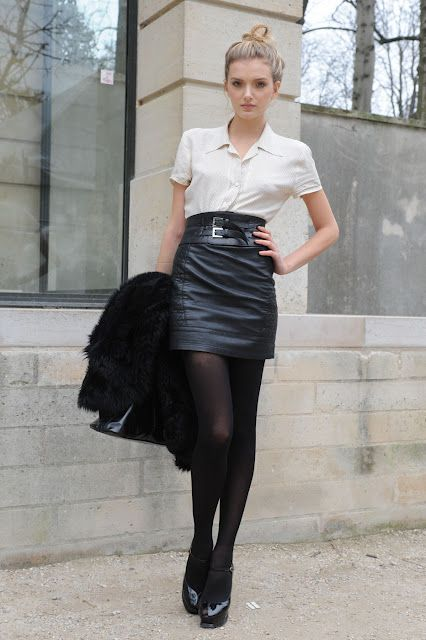 b52ba7bc8eb4c Tights and Heels. | Outfits | Fashion, Black leather skirts, Fashion ...