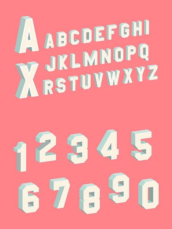 3D Block Letters & Numbers Set | Block lettering ...