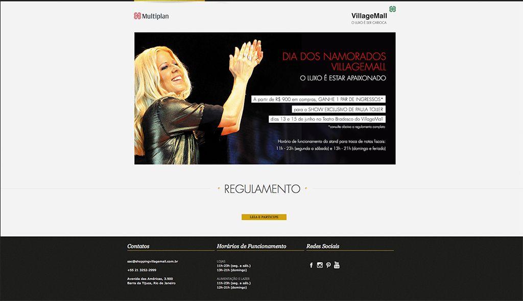 Para o Dia dos Namorados, nós criamos uma página exclusiva para divulgar a promoção no site do VillageMall.