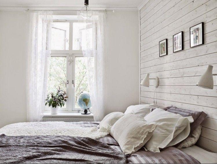 skandinavisch eingerichtetes Schlafzimmer - weiß lasierte - Schlafzimmer Landhausstil Weiß