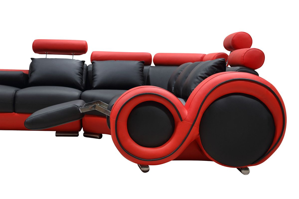 Terrific 4087 Modern Black And Red Leather Sectional Sofa Ideas For Home Interior And Landscaping Pimpapssignezvosmurscom