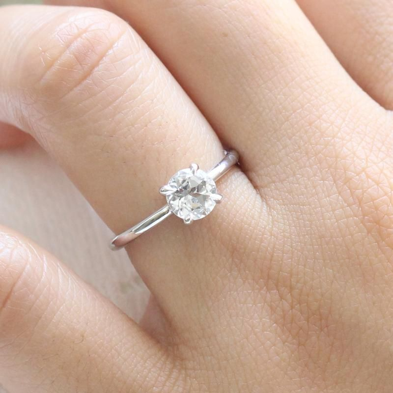 Natural White Sapphire Ring In 14k White Gold Low Profile Solitaire Ring Size 6 25 Moissanite Engagement Ring White Gold Engagement Rings Sapphire White Sapphire Engagement Ring