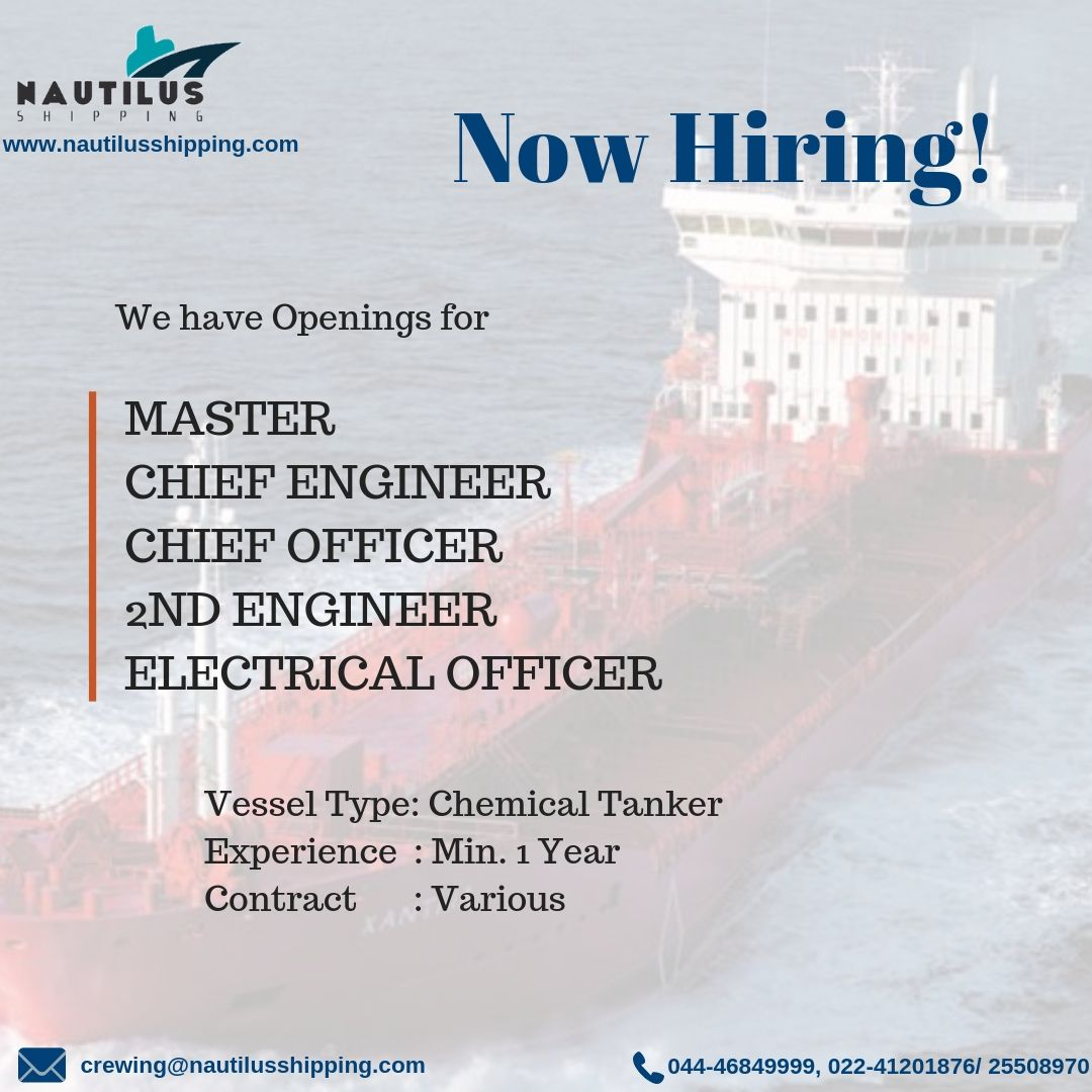 For Chemical Tanker we require Master Chief Engineer Chief