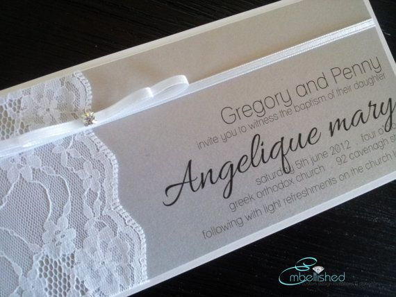 Christening Invitation vintage modern lace soft and sweet white with grey - SAMPLE - DL Size on Etsy, $8.00